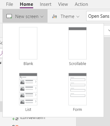 2018-08-05_PowerApps_Studio_Ribbon_Home_NewScreen